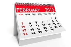 Kalender Februari 2013 royaltyfri illustrationer