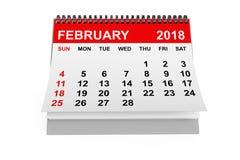 Kalender Februari 2018 framförande 3d stock illustrationer