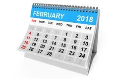 Kalender Februari 2018 framförande 3d vektor illustrationer