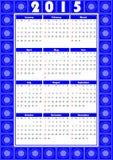 Kalender 2015 in folkloreontwerp met blauwe patronen Stock Afbeeldingen