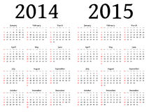 Kalender für 2014 und 2015 im Vektor Stockbilder