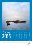 Kalender för foto Print2015 februari Arkivfoto
