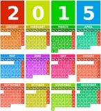 Kalender för regnbåge 2015 i plan design med enkla fyrkantiga symboler Royaltyfria Bilder