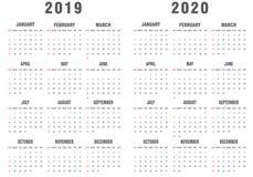 2019-2020 Kalender-Grau und Weiß vektor abbildung