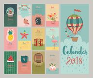 Kalender 2018 Gullig månatlig kalender vektor illustrationer