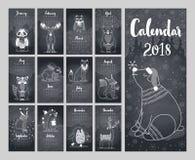 Kalender 2018 Gullig månatlig kalender royaltyfri illustrationer