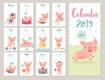 Kalender 2019 Gullig månatlig kalender med gladlynta piggies Hand drog stiltecken vektor illustrationer