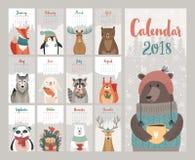 Kalender 2018 Gullig månatlig kalender med skogdjur vektor illustrationer