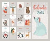 Kalender 2018 Gullig månatlig kalender med skogdjur stock illustrationer
