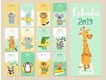 Kalender 2019 Gullig månatlig kalender med skogdjur vektor illustrationer