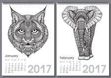Kalender 2017 Härlig utsmyckad hand drog djur stock illustrationer