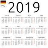 Kalender 2019, het Duits, Maandag vector illustratie