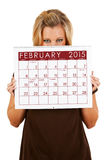 2015 Kalender: Het gluren over Februari-Kalender Royalty-vrije Stock Foto