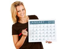 2018 Kalender: Het schrijven op een Januari-Kalender Stock Fotografie