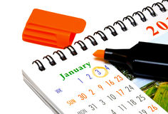 Kalender & Highlighter royaltyfria foton