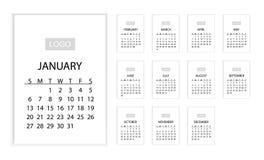 kalender 2019 HorisontalVEKTORmall 10 eps Det kan användas för RENGÖRINGSDUK eller tryck vektor illustrationer