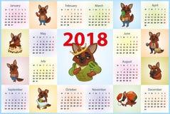 Kalender 2018 Hunde in den verschiedenen Aufmachungen stock abbildung
