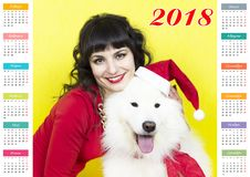 Kalender i året av hunden arkivbilder