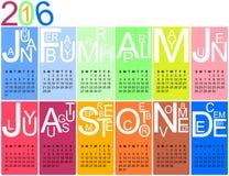 kalender 2016 i ljusa färger Fotografering för Bildbyråer
