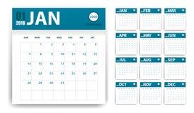 kalender 2018 i pappers- klistermärkear med skuggastil blå white Händelsestadsplanerare Alla storleksanpassar Royaltyfria Bilder