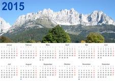 Kalender 2015 i tysk med bergbakgrunden Royaltyfri Bild