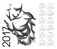 Kalender 2017 Idrottsman nen Arkivbilder