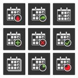 Kalender-Ikonen. Ereignisse, Fortschritt, Lieferung Lizenzfreies Stockbild