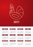 2017 Kalender - illustratie Vectormalplaatje van kleur Stock Afbeeldingen