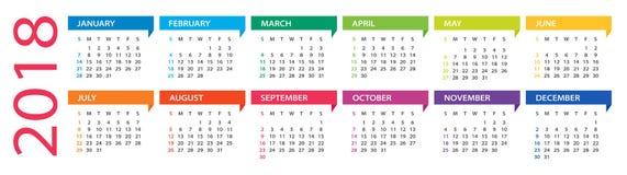 2018 kalender - illustration royaltyfri illustrationer