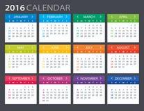 2016 kalender - illustration Arkivfoton