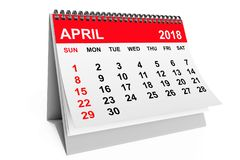 Kalender im April 2018 Wiedergabe 3d Stockbilder