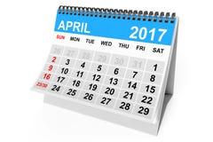 Kalender im April 2017 Wiedergabe 3d Lizenzfreies Stockbild