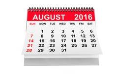 Kalender im August 2016 Wiedergabe 3d Lizenzfreie Stockfotos
