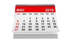 Kalender im Mai 2018 Wiedergabe 3d Lizenzfreies Stockbild