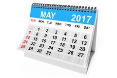 Kalender im Mai 2017 Wiedergabe 3d Lizenzfreies Stockbild