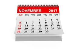 Kalender im November 2017 Wiedergabe 3d Lizenzfreie Stockfotos