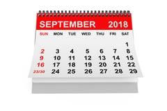 Kalender im September 2018 Wiedergabe 3d lizenzfreie abbildung