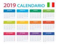 Kalender 2019 - italiensk version stock illustrationer