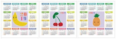 Kalender 2019-jährig Bunter Englischsatz Lächelnde Früchte, berrie Stockbilder