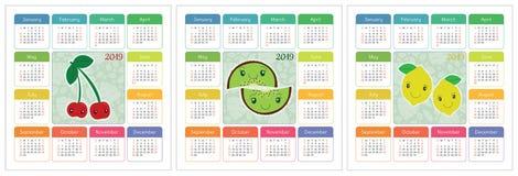 Kalender 2019-jährig Bunter Englischsatz Lächelnde Früchte, berrie Stockfotos