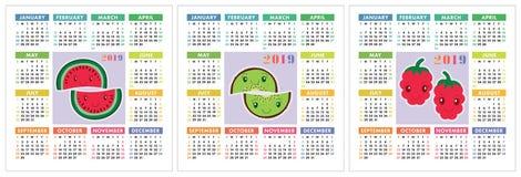 Kalender 2019-jährig Bunter Englischsatz Lächelnde Früchte, berrie Lizenzfreie Stockfotografie