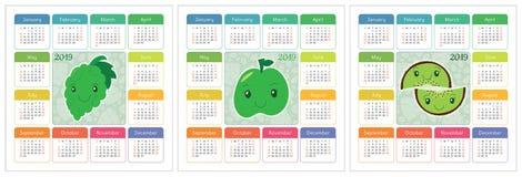 Kalender 2019-jährig Bunter Englischsatz Lächelnde Früchte, berrie Lizenzfreies Stockbild