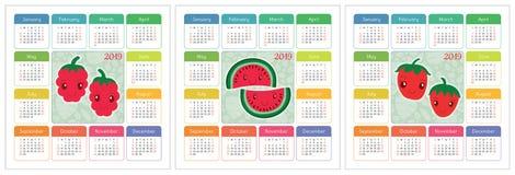 Kalender 2019-jährig Bunter Englischsatz Lächelnde Früchte, berrie Stockbild