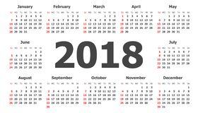 Kalender 2018-jährig in der einfachen Art Kalenderplaner-Design Temp Stockbild