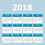 Kalender 2018-jährig in der einfachen Art Kalenderplaner-Design Temp Lizenzfreies Stockfoto