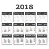 Kalender 2018-jährig in der einfachen Art Kalenderplaner-Design Temp Lizenzfreie Stockfotos