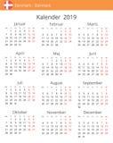 Kalender 2019-jährig für Dänemark-Land lizenzfreie abbildung