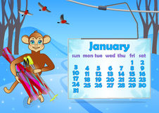 Kalender 2016-jährig mit Affen januar stock abbildung