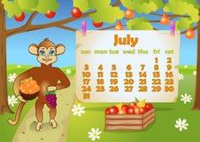 Kalender 2016-jährig mit Affen juli vektor abbildung