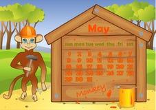Kalender 2016-jährig mit Affen may Lizenzfreie Stockfotografie